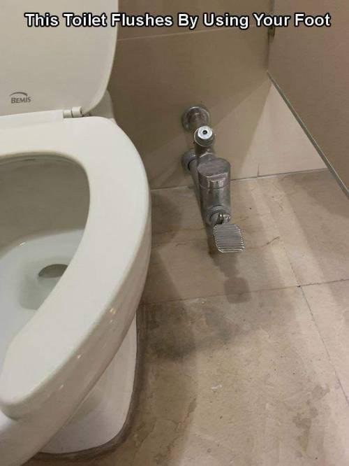 genius invention - Toilet - This Toilet Flushes By Using Your Foot BEMIS
