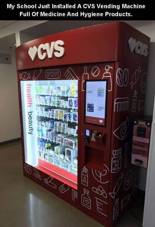 genius invention - Machine - My School Just Installed A CVS Vending Machine Full Of Medicine And Hygiene Products. CIS OCVS you lnow better thaogsaken mom 130 health beauty