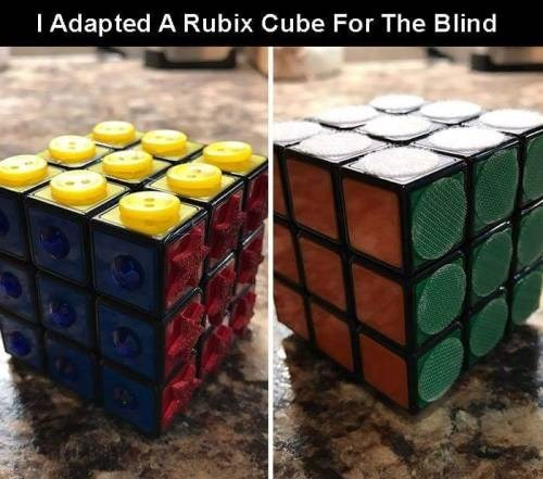 genius invention - Rubik's cube - IAdapted A Rubix Cube For The Blind