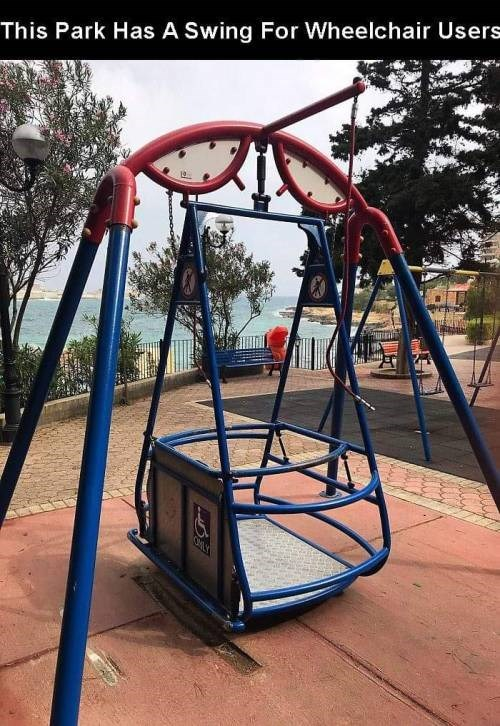 genius invention - Swing - This Park Has A Swing For Wheelchair Users