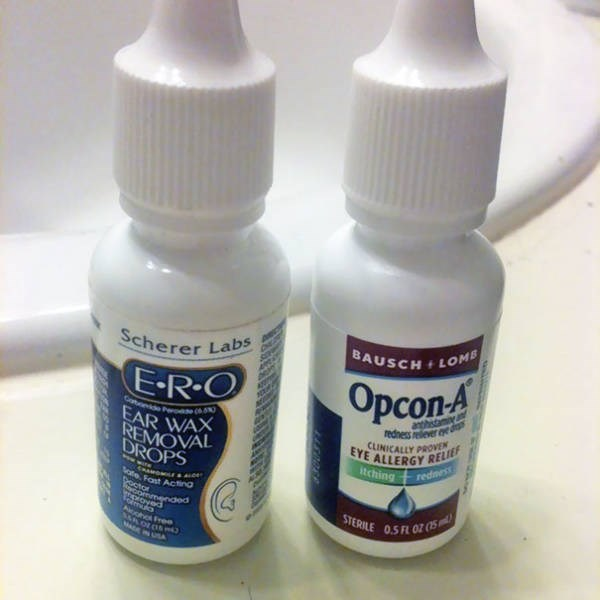 Product - Scherer Labs BAUSCHLOM Opcon-A E-R.O redness lever EAR WAX REMOVAL DROPS EYE ALLERGY RELIEF itching redness ate Fout Actno octor omended TASE STERILE 0.5 OZ(15 h Free