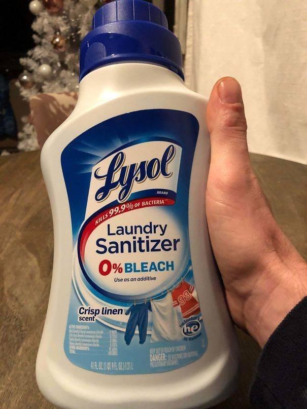 Product - 15ое BRAND 99.9% oF BACTERIA KILLS Laundry Sanitizer 0%BLEACH Use as an additive Crisp linen scent ATVE RDN $99 he NENin DANGER: