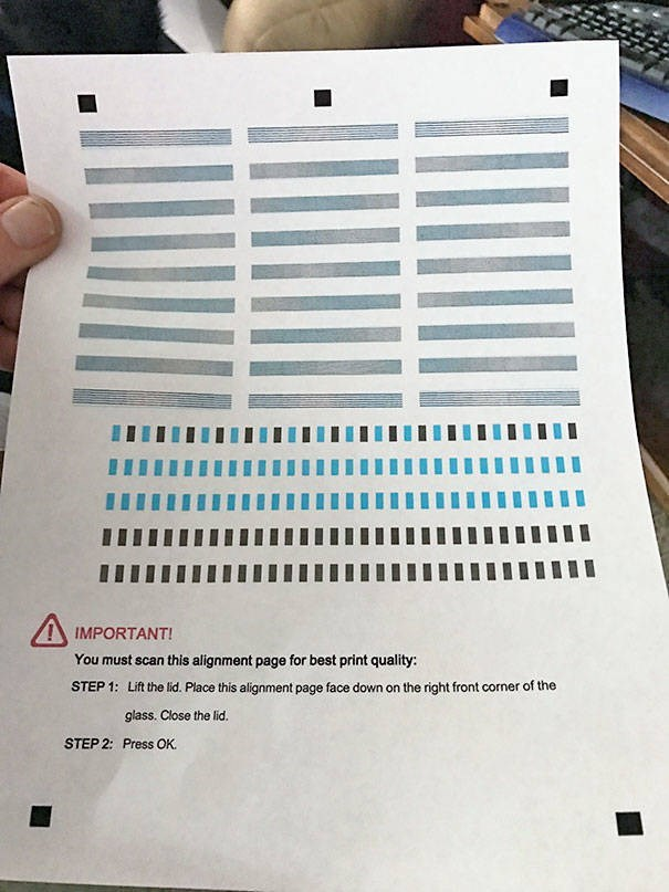 Text - IMPORTANT! You must scan this alignment page for best print quality: Lift the lid. Place this alignment page face down on the right front corner of the STEP 1: glass. Close the lid. Press OK STEP 2: