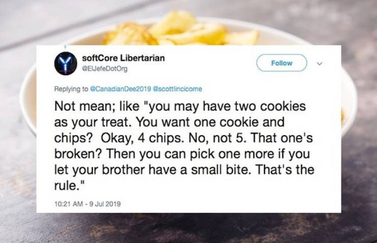 "Text - softCore Libertarian Follow EefeDotOrg Replying to @CanadianDee2019 @scottlincicome Not mean; like ""you may have two cookies as your treat. You want one cookie and chips? Okay, 4 chips. No, not 5. That one's broken? Then you can pick one more if you let your brother have a small bite. That's the rule."" 10:21 AM-9 Jul 2019"