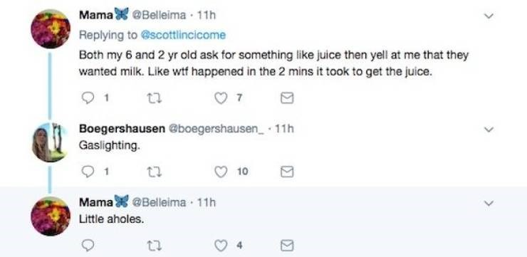 Text - Mama@Belleima 11h Replying to@scottlincicome Both my 6 and 2 yr old ask for something like juice then yell at me that they wanted milk. Like wtf happened in the 2 mins it took to get the juice. Boegershausen @boegershausen 11h Gaslighting. 10 Mama@Belleima 11h Little aholes.