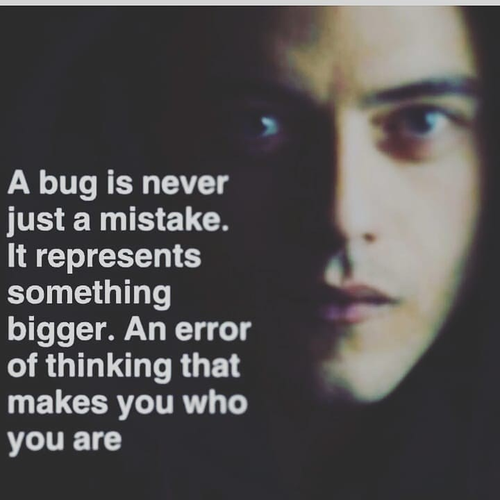 tech meme - Face - A bug is never just a mistake. It represents something bigger. An error of thinking that makes you who you are