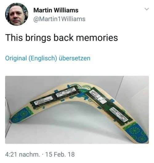 tech meme - Martin Williams @Martin1Williams This brings back memories Original (Englisch) übersetzen 4:21 nachm. 15 Feb. 18