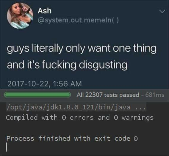 tech meme - Text - Ash @system.out.memeln() guys literally only want one thing and it's fucking disgusting 2017-10-22, 1:56 AM All 22307 tests passed - 681ms /opt/java/jdk1.8.0 121/bin/java Compiled with o errors and O warnings Process finished with exit code O |