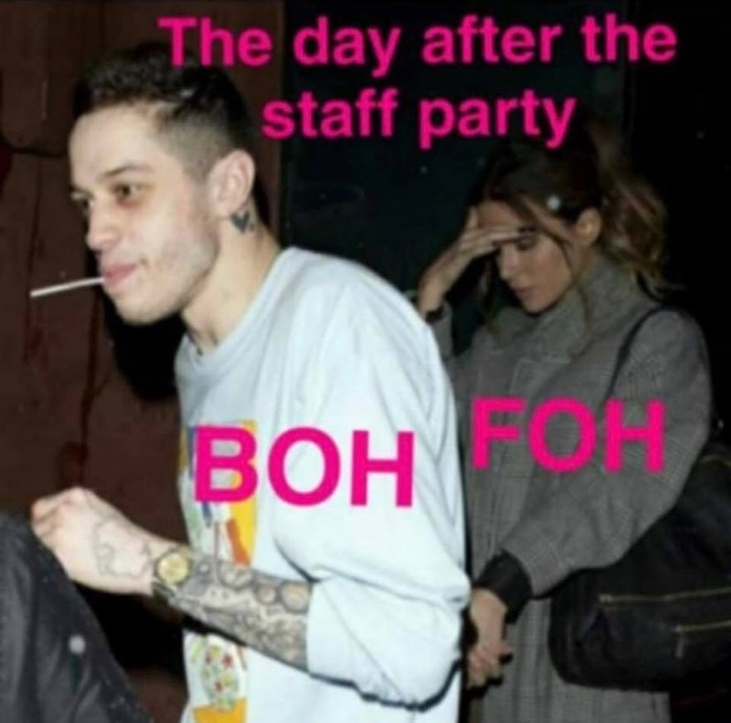 restaurant worker - Photo caption - The day after the staff party BOH