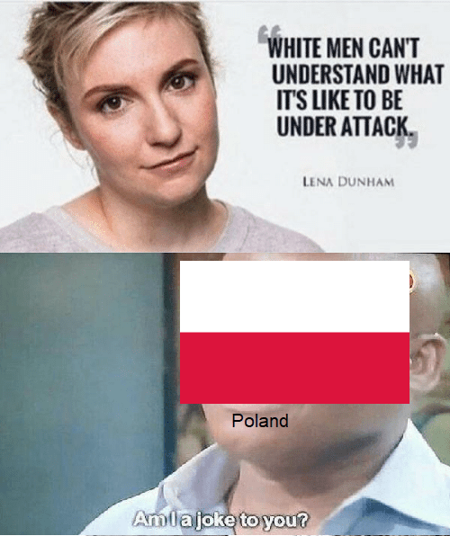 meme - Face - WHITE MEN CANT UNDERSTAND WHAT IT'S LIKE TO BE UNDER ATTACK LENA DUNHAM Poland Amlajoke to you?