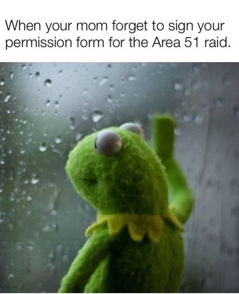 Green - When your mom forget to sign your permission form for the Area 51 raid.
