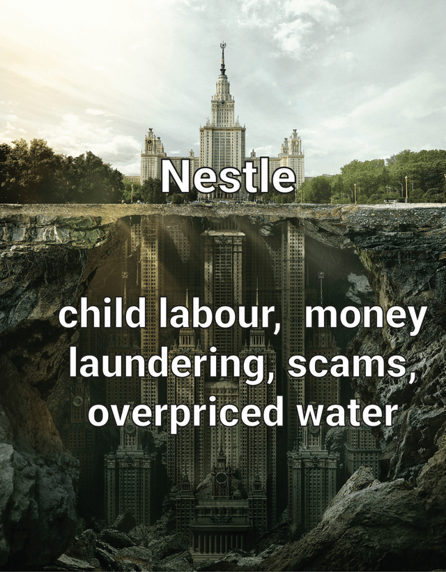 memes - Landmark - Nestle child labour, money laundering, scams, overpriced water