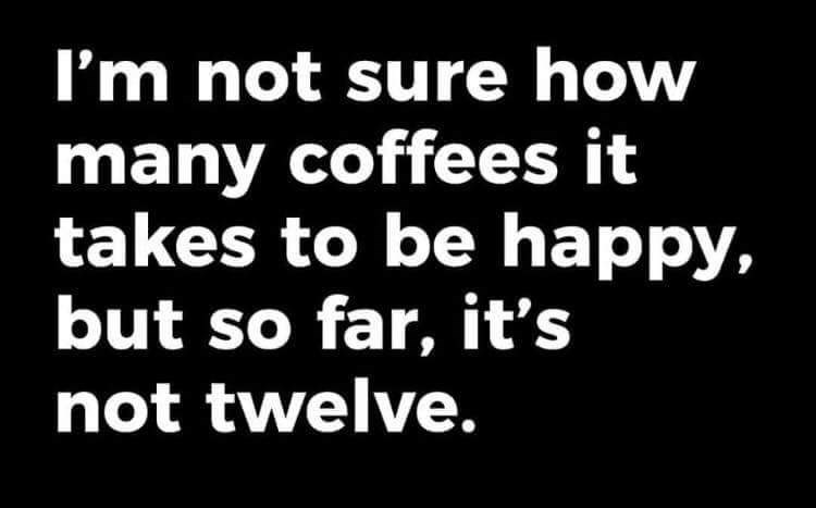 Font - I'm not sure how many coffees it takes to be happy, but so far, it's not twelve.