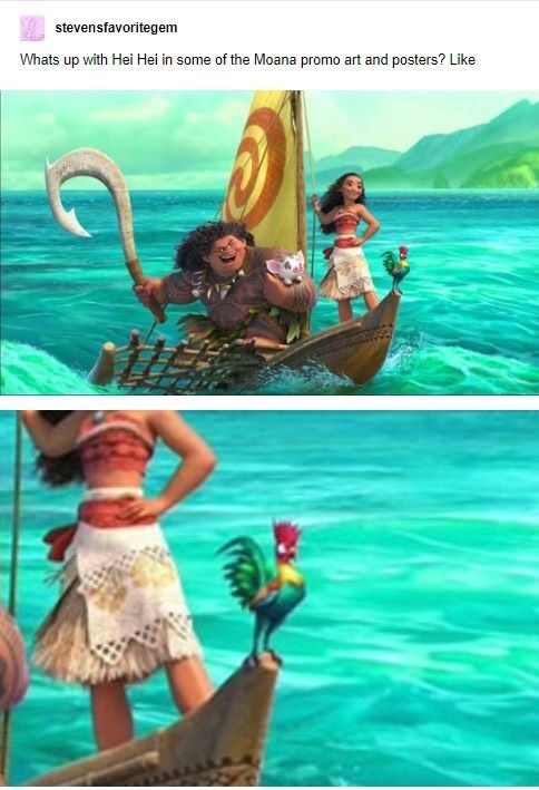 Summer - stevensfavoritegem Whats up with Hei Hei in some of the Moana promo art and posters? Like
