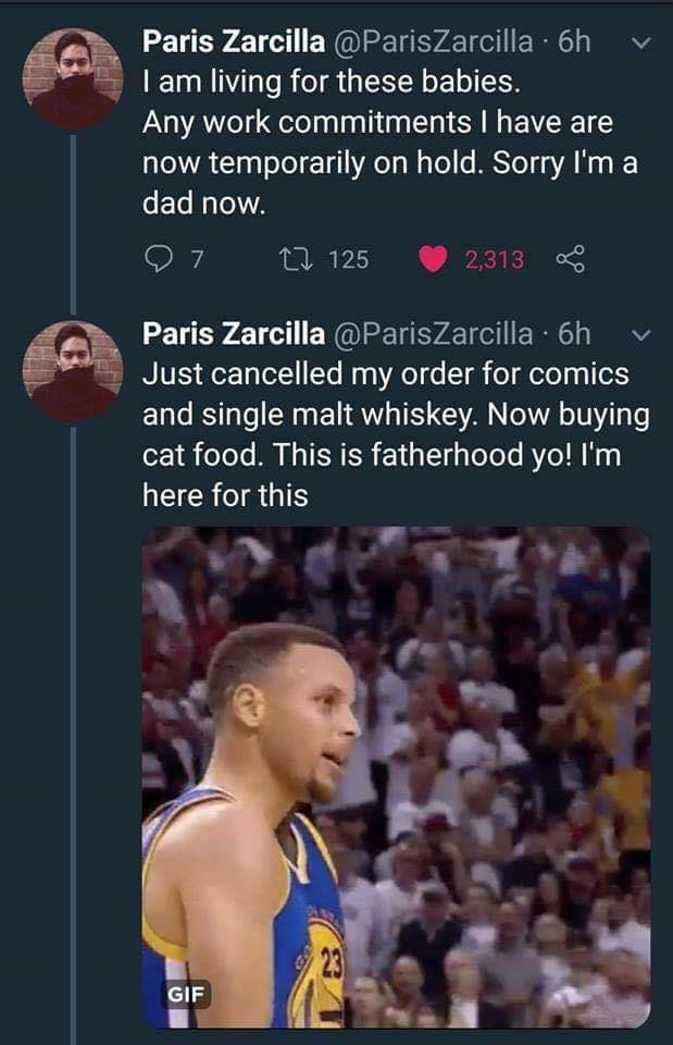 Basketball player - Paris Zarcilla @ParisZarcilla 6h I am living for these babies. Any work commitments I have are now temporarily on hold. Sorry I'm a dad now. 7 包 125 2,313 Paris Zarcilla @ParisZarcilla 6h Just cancelled my order for comics and single malt whiskey. Now buying food. This is fatherhood yo! I'm here for this 23 GIF