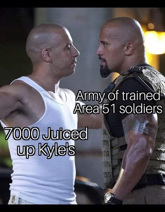 Photo caption - Army of trained Area51 soldiers 7000 Juiced up Kyle's
