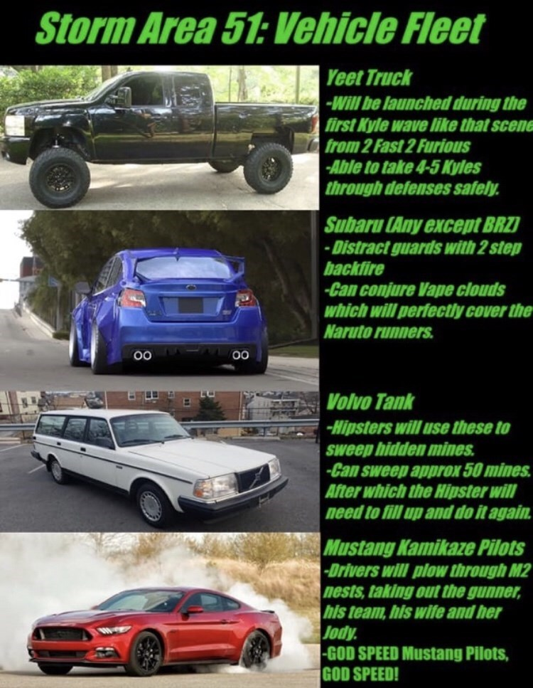 Land vehicle - Storm Area 51:Vehicle Fleet Yeet Truck -Will be launched during the first Kyle wave like that scene from 2 Fast 2 Furious Able to take 4-5 Kyles through defenses safely Subaru (Any except BRZ -Distract guards with 2 step backfire -Can conjure Vape clouds which will perfectly cover the Naruto runners Volvo Tank -Hipsters willuse these to Ssweep hidden mines -Can sweep approx 50 mines After which the Hipster will need to fill up and do it again. Mustang Kamikaze Pilots Drivers will