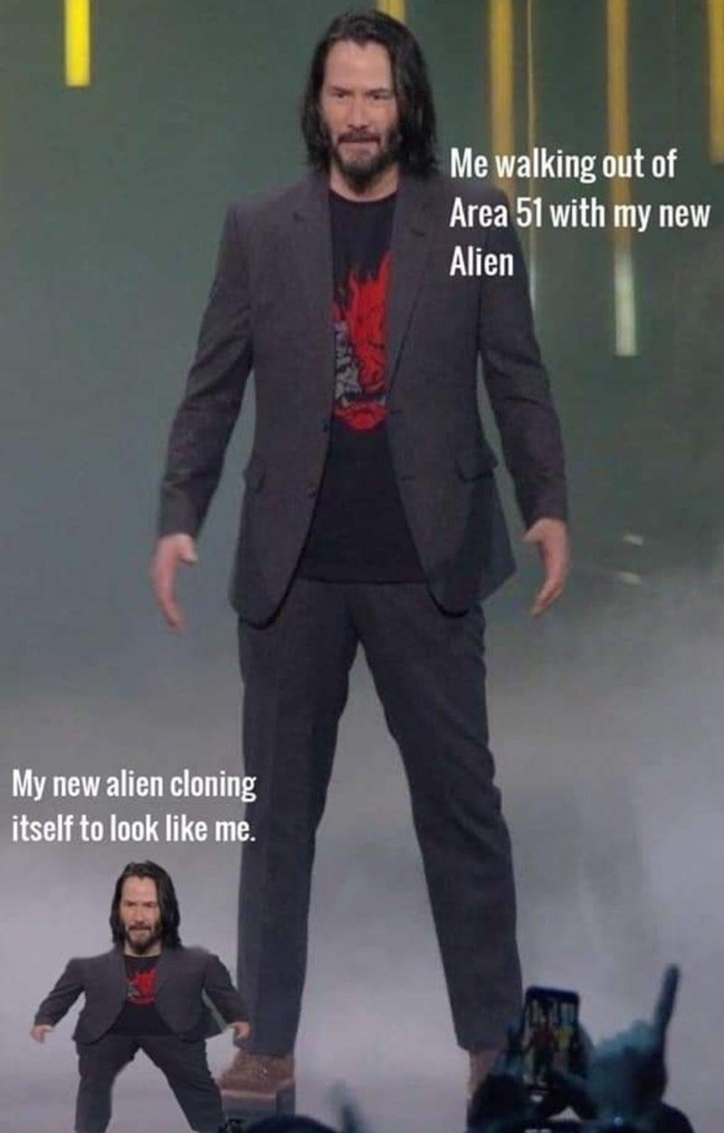 Suit - Me walking out of Area 51 with my new Alien My new alien cloning itself to look like me