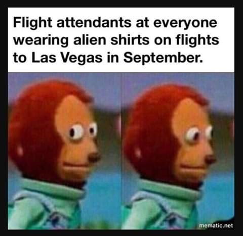 Animated cartoon - Flight attendants at everyone wearing alien shirts on flights Las Vegas in September. mematic.net