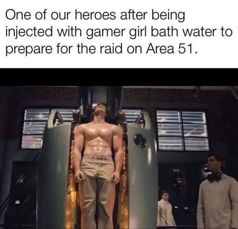 Bodybuilding - One of our heroes after being injected with gamer girl bath water to prepare for the raid on Area 51