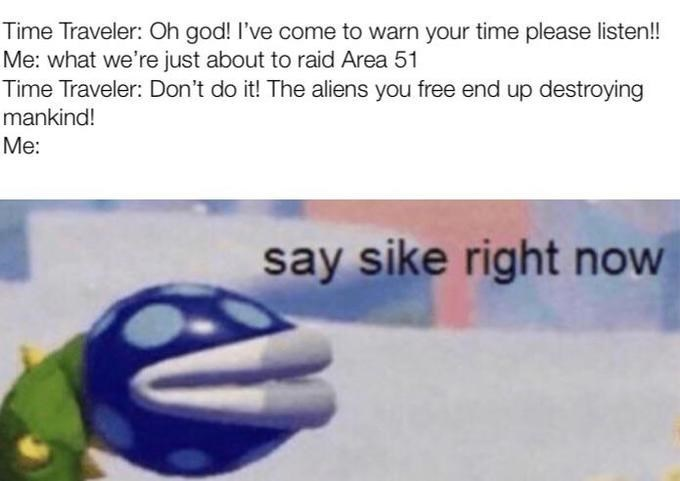 mario meme - Text - Time Traveler: Oh god! I've come to warn your time please listen!! Me: what we're just about to raid Area 51 Time Traveler: Don't do it! The aliens you free end up destroying mankind! Me: say sike right now