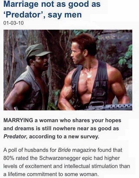 "Meme - ""Marriage not as good as 'Predator', say men 01-03-10 MARRYING a woman who shares your hopes and dreams is still nowhere near as good as Predator, according to a new survey. A poll of husbands for Bride magazine found that 80% rated the Schwarzenegger epic had higher levels of excitement and intellectual stimulation than a lifetime commitment to some woman."""
