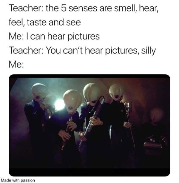 Text - Teacher: the 5 senses are smell, hear, feel, taste and see Me: I can hear pictures Teacher: You can't hear pictures, silly Me: Made with passion