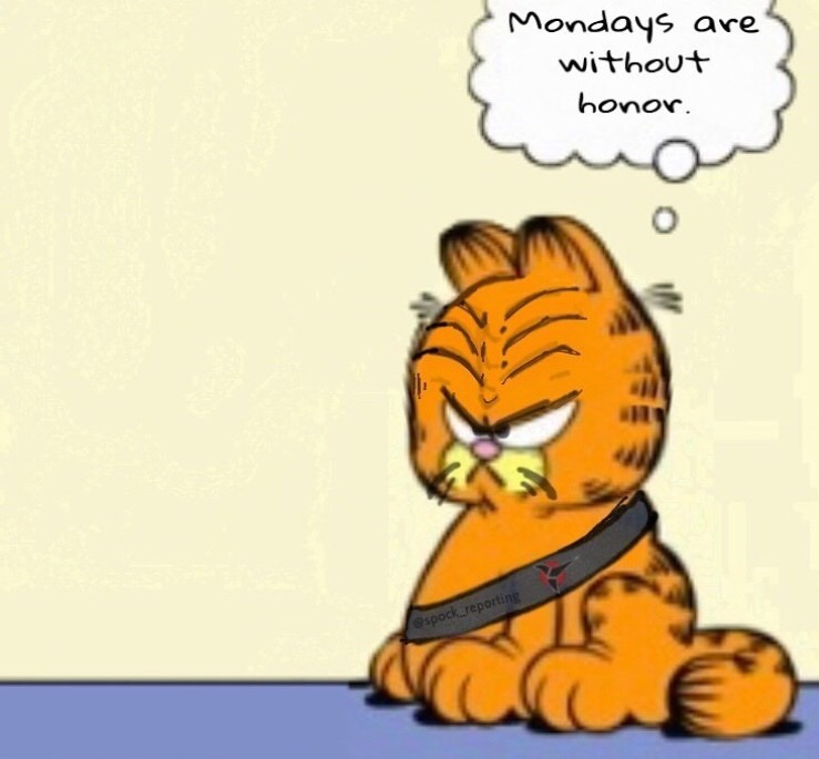 "Meme - Garfield - ""Mondays are without honor Spock reporting"""