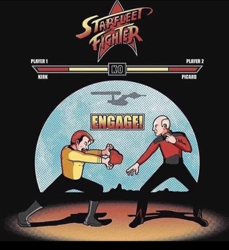 Cartoon - STARFLEE FIGHER PLAYER 1 PLAYER 2 KO KIRK PICARD ENGAGE!