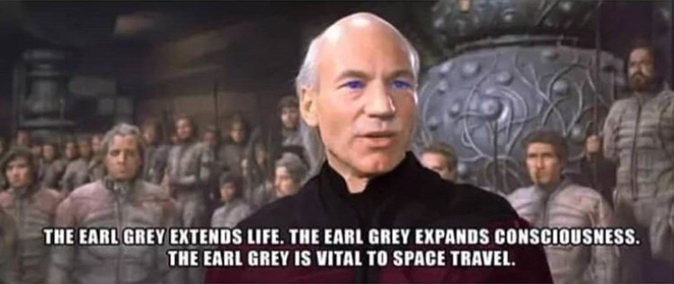 Forehead - THE EARL GREY EXTENDS LIFE. THE EARL GREY EXPANDS CONSCIOUSNESS. THE EARL GREY IS VITAL TO SPACE TRAVEL.
