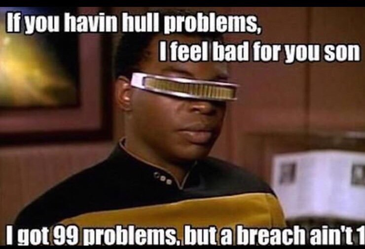 Photo caption - If you havin hull problems, I feel bad for you son I got 99 problems.butabreach ain't 1