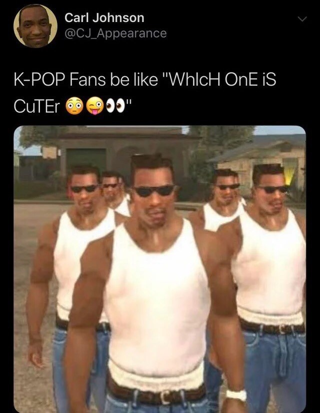"Barechested - Carl Johnson @CJ Appearance K-POP Fans be like ""WhlcH OnE iS CuTEr"