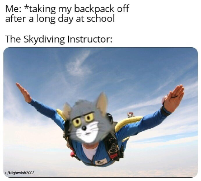 Cartoon - Me: *taking my backpack off after a long day at school The Skydiving Instructor: u/Nightwish2003
