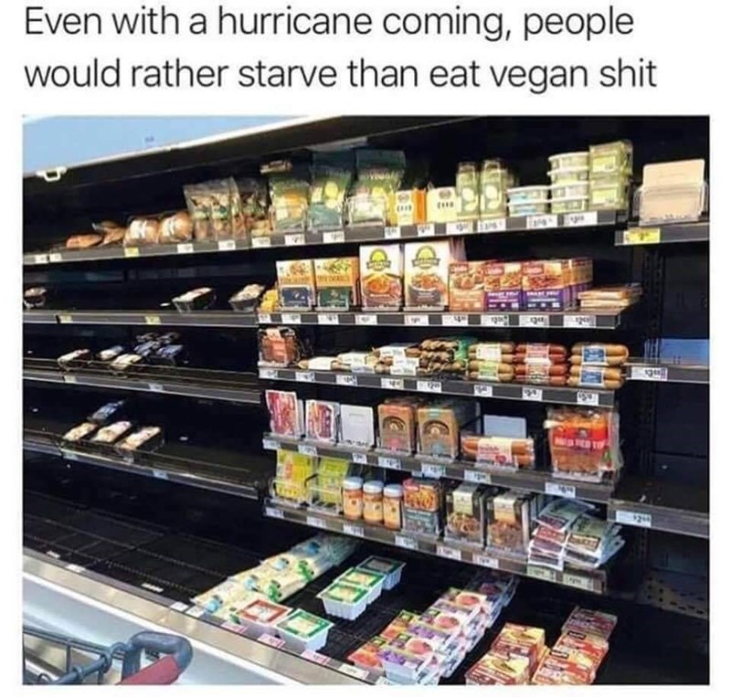 Product - Even with a hurricane coming, people would rather starve than eat vegan shit