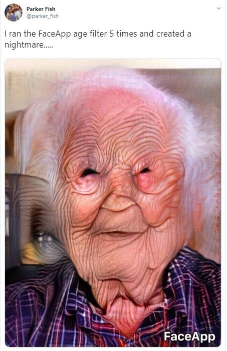 Wrinkle - Parker Fish @parker fish I ran the FaceApp age filter 5 times and created a nightmare.... FaceApp