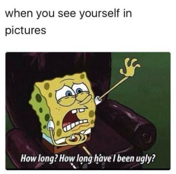 sad meme - Cartoon - when you see yourself in pictures How long? How longhave I been ugly?