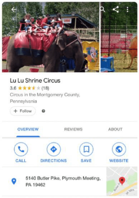 Text - Lu Lu Shrine Circus 3.6 (18) Circus in the Montgomery County Pennsylvania Follow OVERVIEW REVIEWS ABOUT CALL DIRECTIONS SAVE WEBSITE 5140 Butler Pike, Plymouth Meeting, PA 19462