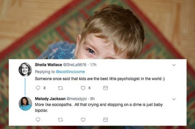 Text - Sheila Wallace @SheLa9876 17h Replying to @scottlincicome Someone once said that kids are the best little psychologist in the world :) 2 Melody Jackson @melodyjoi 9h More like sociopaths. All that crying and stopping on a dime is just baby bipolar. ta