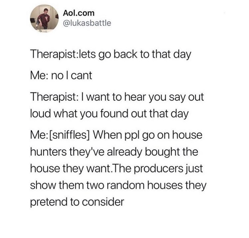 Text - Aol.com @lukasbattle Therapist:lets go back to that day Me: no I cant Therapist: I want to hear you say out loud what you found out that day Me: [sniffles] When ppl go on house hunters they've already bought the house they want.The producers just show them two random houses they pretend to consider