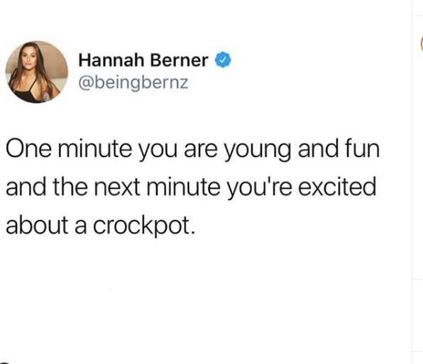 Text - Hannah Berner @beingbernz One minute you are young and fun and the next minute you're excited about a crockpot.