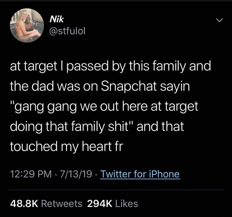 "Text - Nik @stfulol at target I passed by this family and the dad was on Snapchat sayin ""gang gang we out here at target doing that family shit"" and that touched my heart fr 12:29 PM 7/13/19. Twitter for iPhone 48.8K Retweets 294K Likes"