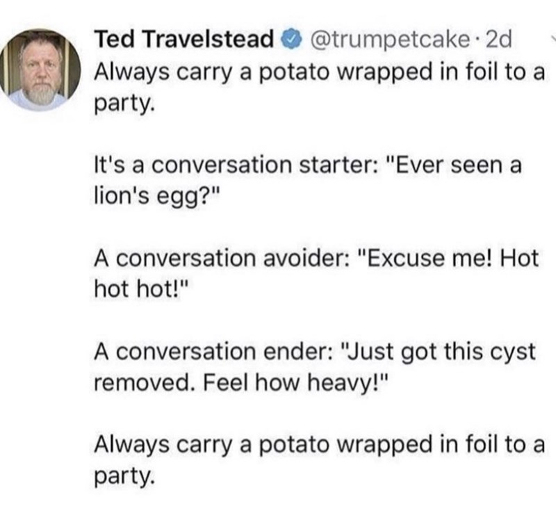 """Text - @trumpetcake 2d Ted Travelstead Always carry a potato wrapped in foil to a party. It's a conversation starter: """"Ever seen a lion's egg?"""" A conversation avoider: """"Excuse me! Hot hot hot!"""" A conversation ender: """"Just got this cyst removed. Feel how heavy!"""" Always carry a potato wrapped in foil to a party."""