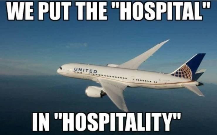 "Meme - ""WE PUT THE 'HOSPITAL' UNITED IN ""HOSPITALITY'"""