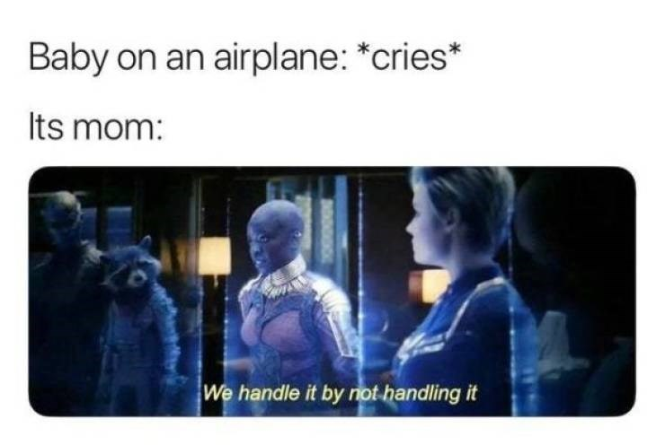 """Meme - """"Baby on an airplane: *cries* Its mom: We handle it by not handling it"""""""