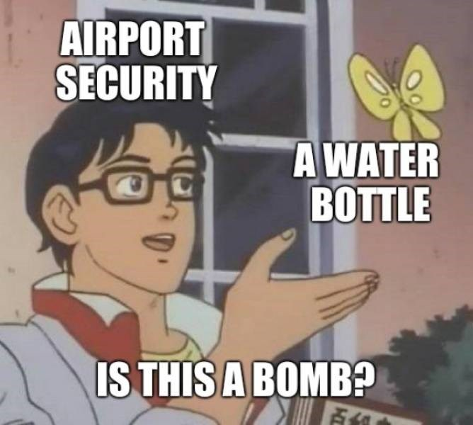 Cartoon - AIRPORT SECURITY AWATER ВОTTLE IS THIS A BOMB?