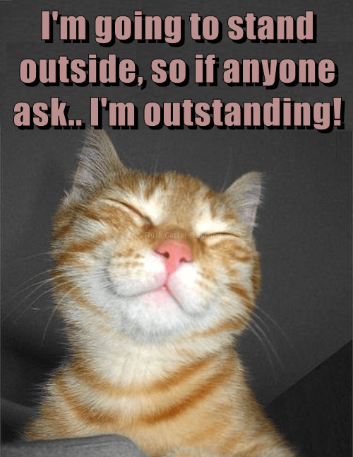 Cat - I'm going to stand outside, so if anyone ask.. I'm outstanding! Ruth Corter m