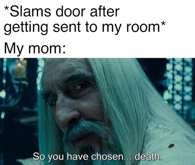 saruman - Text - *Slams door after getting sent to my room* My mom: So you have chosen... death