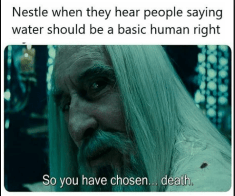 saruman - Text - Nestle when they hear people saying water should be a basic human right So you have chosen... death.