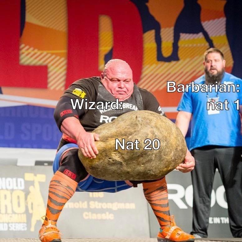 Strongman - Barbarian: nat 1 ND Wizard RC BREA D SPO Nat 20 SBE NOLD RO ROG mold Strongman Classie EN TH SERVES