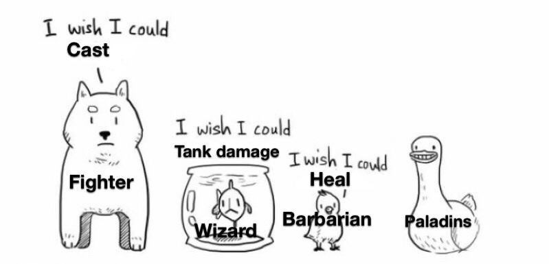 Cartoon - I wish I could Cast I wish I could Tank damage Iwish I could Fighter Heal Paladins Wizard Barbarian